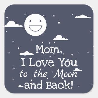 Glückliche Liebe des Mond-I Sie zum Mond u. zu den Quadratischer Aufkleber