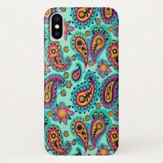 Glückliche Minze und orange Paisley-Muster iPhone X Hülle