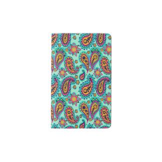 Glückliche Minze und orange Paisley-Muster Moleskine Taschennotizbuch