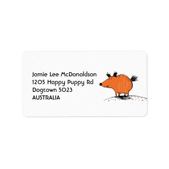 Glückliche orange Hundeadressen-Etiketten Adressaufkleber