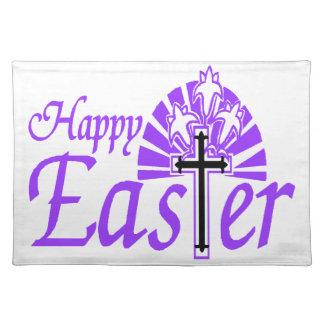 Glückliche Ostern-Blumen u. -kreuz Tischset