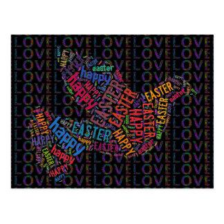 Glückliche Ostern-Liebe-Tauben-bunter Text Postkarte