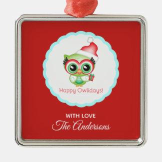 Glückliche Owlidays Silbernes Ornament