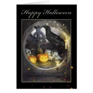 Glückliche Raben-Gruß-Karte Halloweens mystische Karte