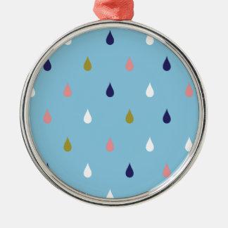 Glückliche Regentropfen Rundes Silberfarbenes Ornament