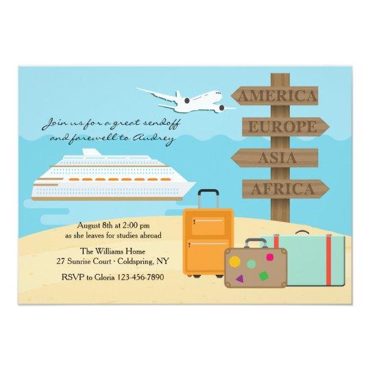 glückliche reise-abschied-party einladung | zazzle.ch, Einladungen