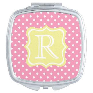 Glückliche rosa und weiße Tupfen mit Buttergelb Taschenspiegel