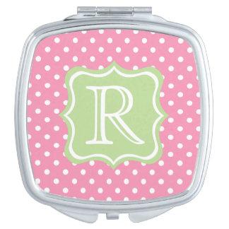 Glückliche rosa und weiße Tupfen mit tadellosem Taschenspiegel
