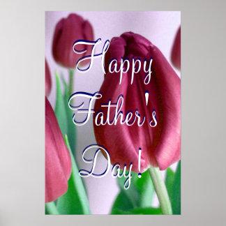 Glückliche Rosey der Vatertag Tulpen Posterdrucke