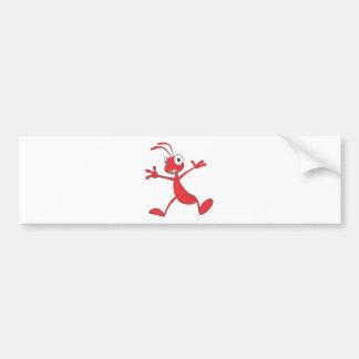 Glückliche rote Ameise, die für Freude springt Autoaufkleber