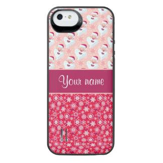 Glückliche Sankt und Schneeflocken personalisiert iPhone SE/5/5s Batterie Hülle