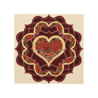 Glückliche Schmetterlings-Mandala Holzdruck
