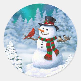 Glückliche Schneemann-und Winter-Vögel Runder Aufkleber
