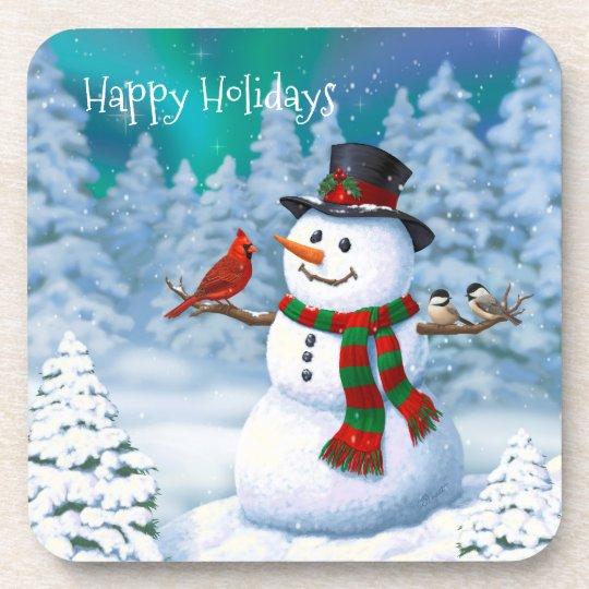 Glückliche Schneemann-und Winter-Vögel Untersetzer