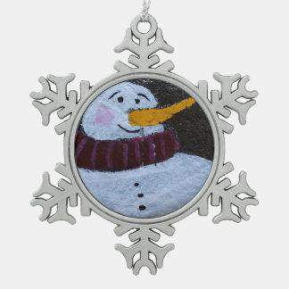Glückliche Schneemann-Zinn-Schneeflocke-Dekoration Schneeflocken Zinn-Ornament