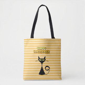 Glückliche schwarze Katzen-Trick-oder Tasche