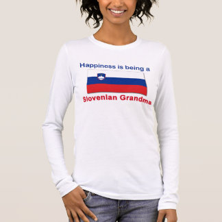 Glückliche slowenisch Großmutter Langarm T-Shirt