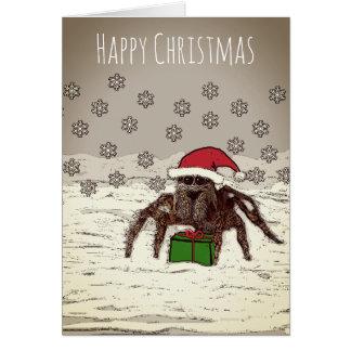 Glückliche Spinnen-Weihnachtskarte mit Karte