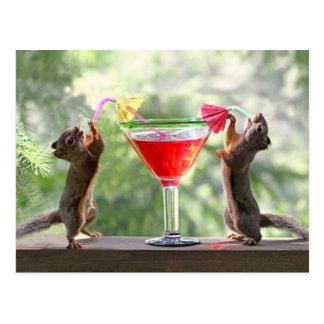Glückliche Stunden-Eichhörnchen Postkarte