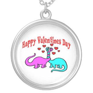 Glückliche Valentinstag-Dinosaurier-Liebe Versilberte Kette