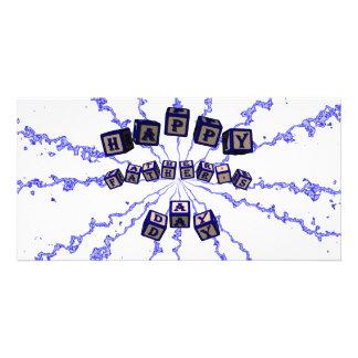 Glückliche Vatertags-Spielzeugblöcke im Blau Fotokartenvorlagen