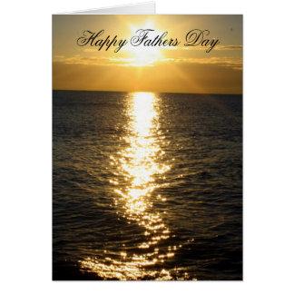 Glückliche Vatertags-Strand-Sonnenaufgang-Karte Grußkarte