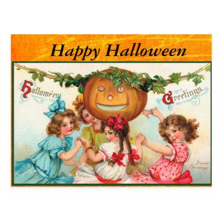 Glückliche Vintage Halloween-Postkarte Postkarte