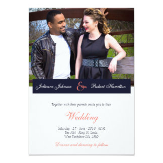 Glückliche zusammen | Foto-Hochzeits-Einladung 12,7 X 17,8 Cm Einladungskarte