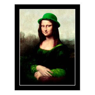 Glücklichen Mona Lisa St Patrick TagesKleeblatt Postkarte