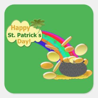 Glücklichen St Patrick Tagesregenbogen Quadratischer Aufkleber