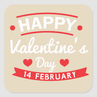 Glücklichen Valentinsgrußes am 14. Februar Quadratischer Aufkleber