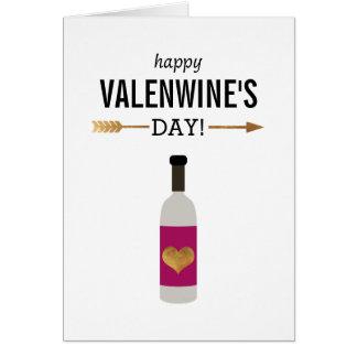 Glücklichen Valenwines Tag mit Flasche Wein Karte