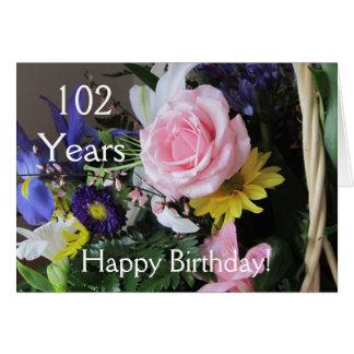 Glücklicher 102. Geburtstag! Rosa Grußkarte