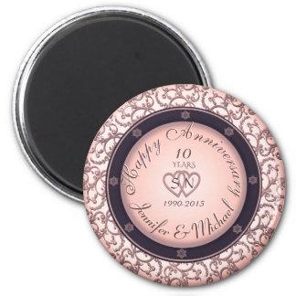 Glücklicher 10. Jahrestag Runder Magnet 5,7 Cm