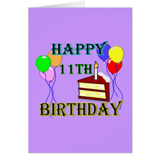 Glücklicher 11. Geburtstag mit Kuchen, Ballonen Grußkarte
