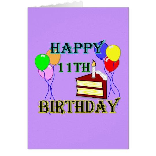 Glücklicher 11. Geburtstag mit Kuchen, Ballonen Karte