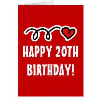 Glücklicher 20. Geburtstag - Grußkarte