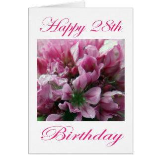Glücklicher 28. Geburtstags-rosa und grüne Blume Karte