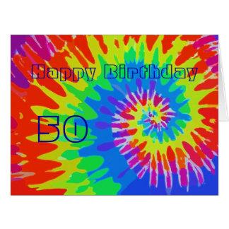 Glücklicher 50. Geburtstags-Groovy Krawatten-Karte Riesige Grußkarte