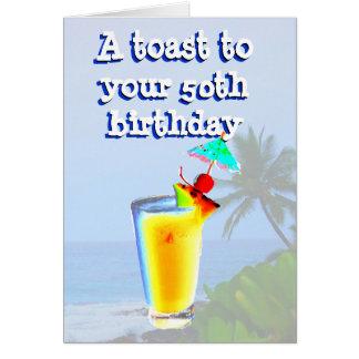 Glücklicher 50 Geburtstags-Toast Karten
