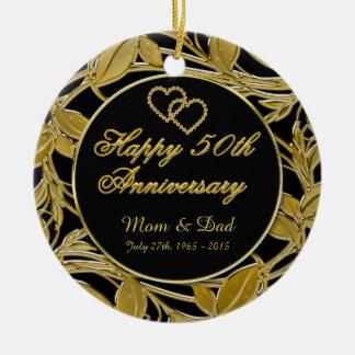 Glücklicher 50. Jahrestags-goldenes Blätter DBL Keramik Ornament