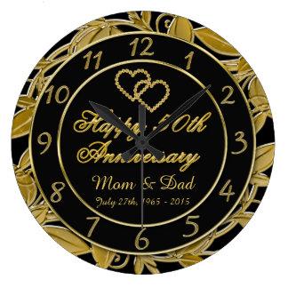 Glücklicher 50. Jahrestags-metallische Große Wanduhr