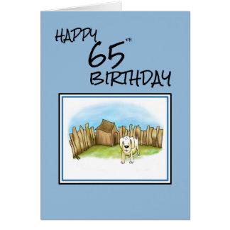 Glücklicher 65. Geburtstag mit Cartoonhund im Karte