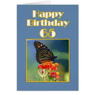 Glücklicher 65. Geburtstags-Monarchfalter Grußkarte