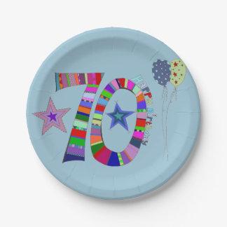 Glücklicher 70. Geburtstags-bunte Ballone Pappteller