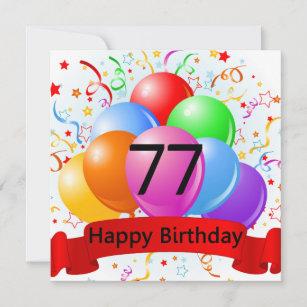Glücklicher 77. Geburtstag steigt Fahne im Ballon Karte