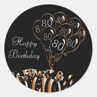 Glücklicher 80. Geburtstag Runder Aufkleber
