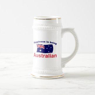 Glücklicher Australier Bierglas