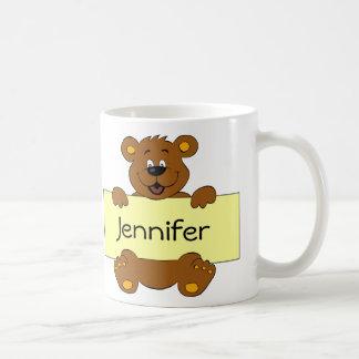 Glücklicher Bär mit kundengerechten Kaffeetasse