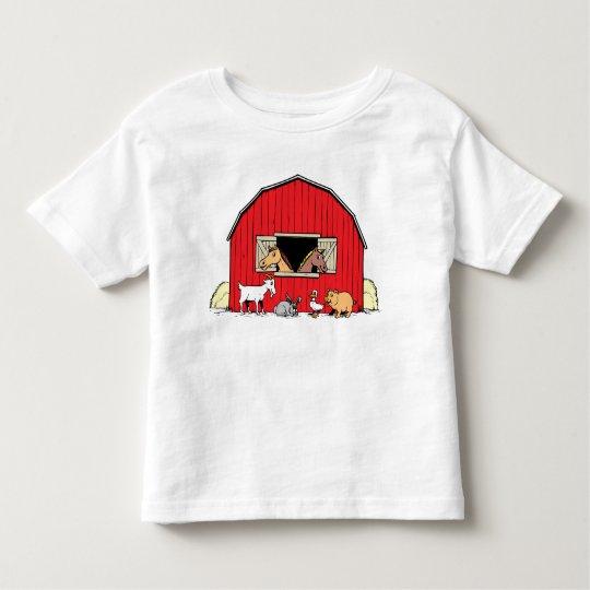 Glücklicher Bauernhofbarnyard-Tier-Kleinkind-T - Kleinkind T-shirt
